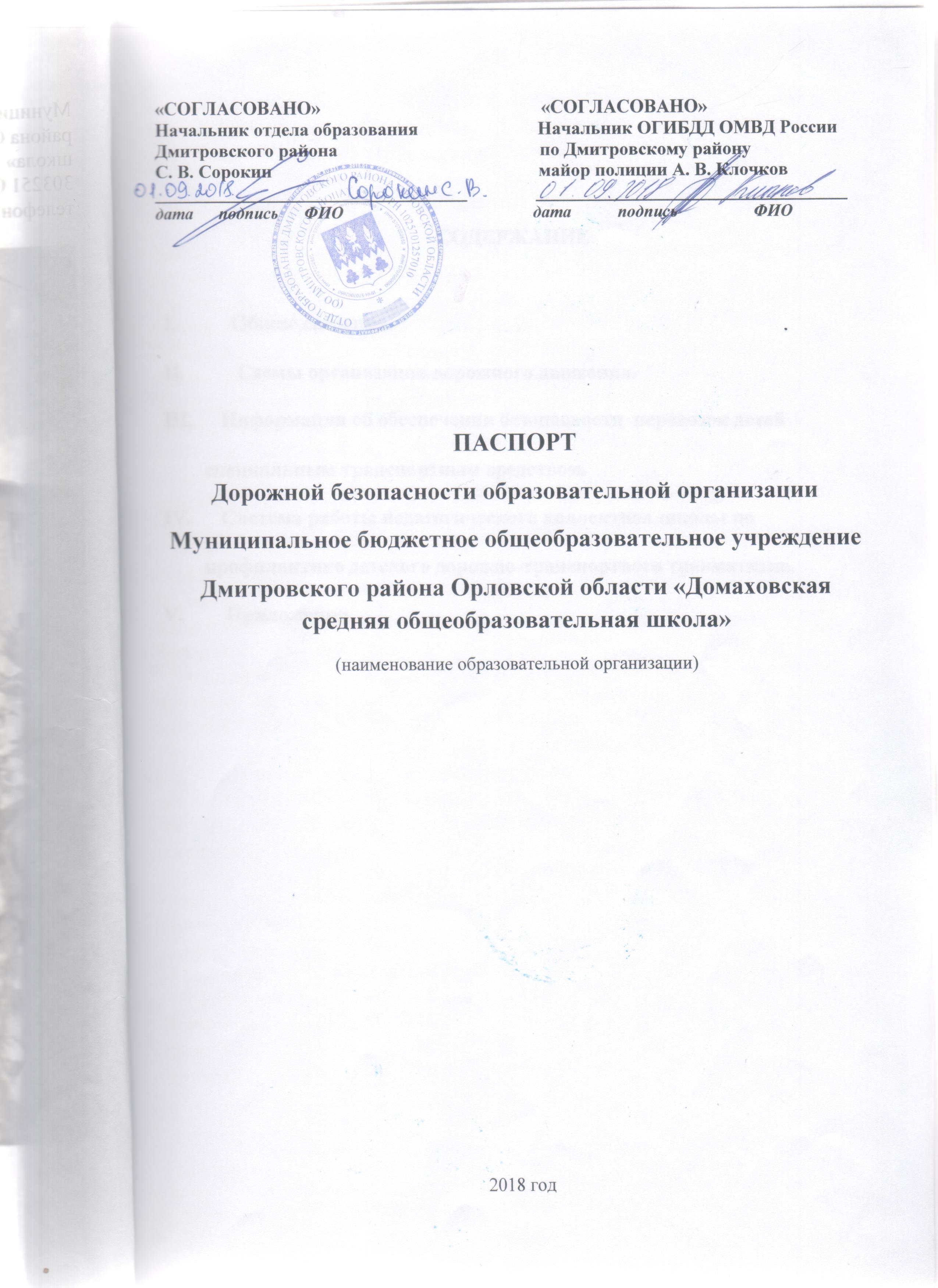 Паспорт безопасности дорожного движения